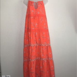 GAP orange prairie/boho maxi dress. Size Large